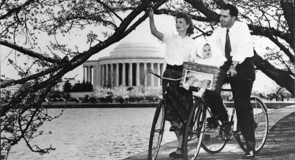 All the way back to Nixon! And I could go further! But the thought of seeing  Grover Cleveland on a penny-farthing bicycle is enough to make me want to  puke ... 819ec061b